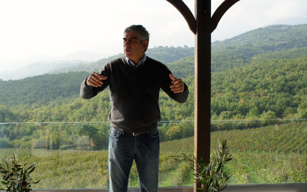Stellios Boutaris of the Kir-Yianni Estate is talking about terroirs of Naoussa, Greece