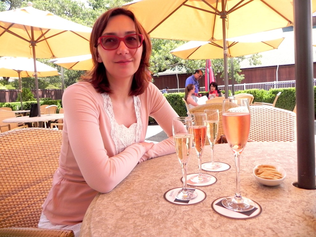 Drinking sparkling at Mumm Napa