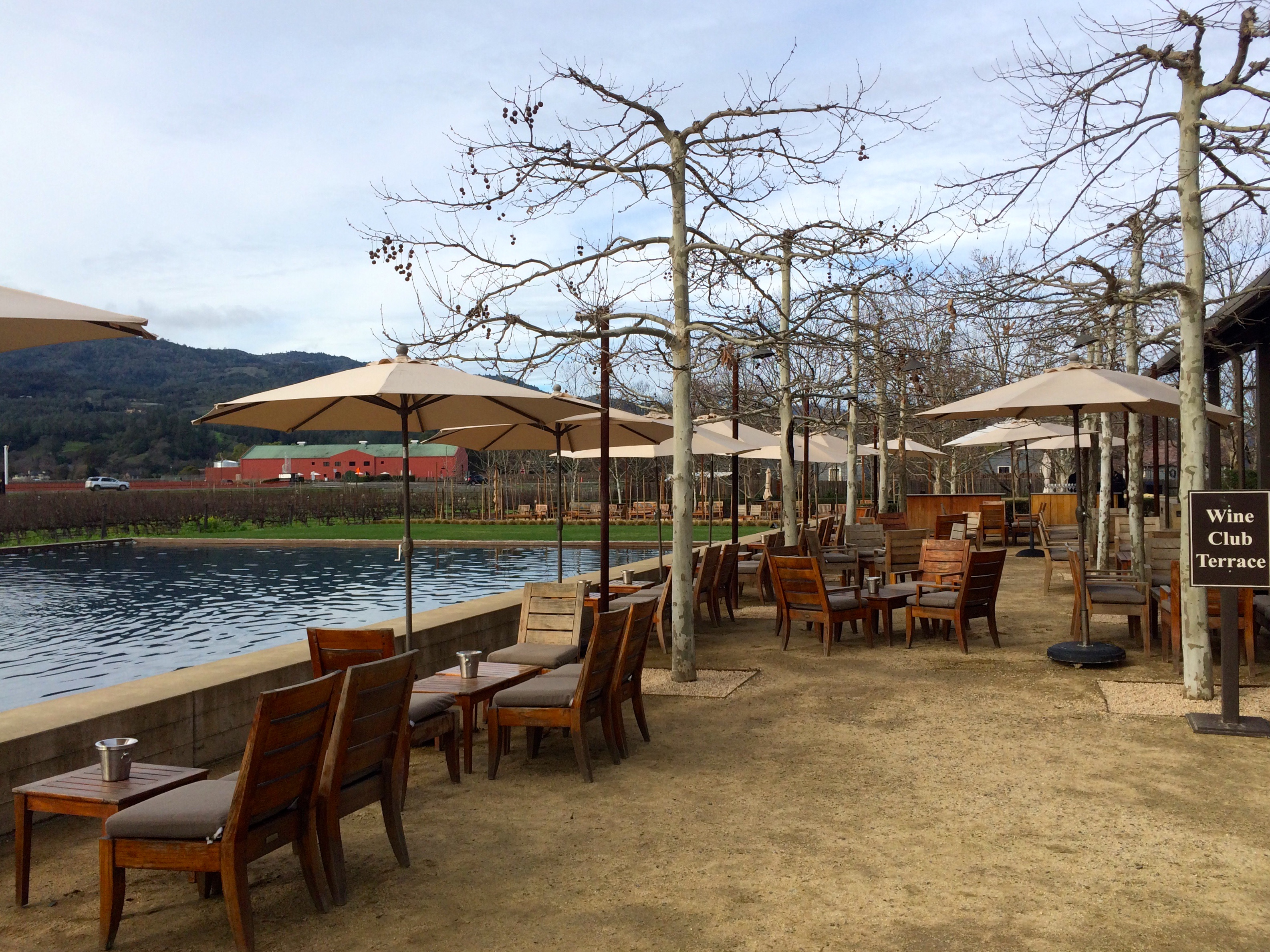 Alpha Omega winery in Napa valley, outdoor area