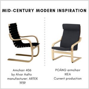 IKEA's Poäng armchair and Armchair 406 by Alvar Aalto