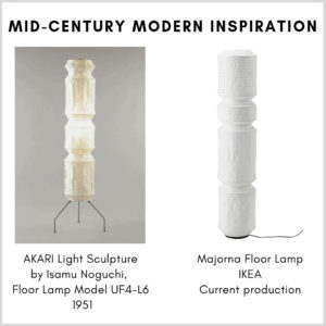 Mid-century modern inspiration in the living room: IKEA Majorna Floor Lamp and one of Isamu Noguchi's Akari Light Sculptures, the Floor Lamp Model UF4-L6