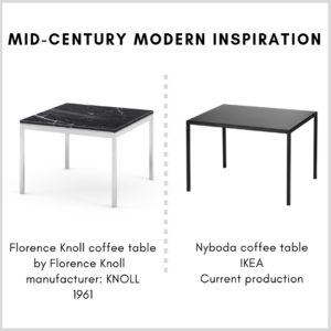 Mid-century modern inspiration in the living room: IKEA Nyboda coffee table and Florence Knoll Coffee Table