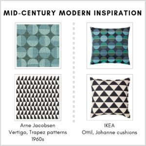 Mid-century modern inspiration in the living room: IKEA Ottil and Johanne cushion covers and Arne Jacobsen patterns - Vertigo/Centennium Circler and Trapez