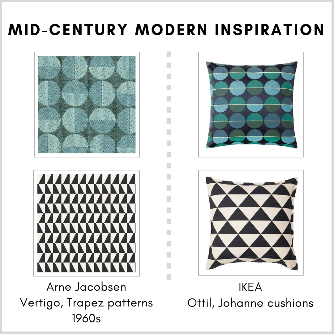 IKEA Ottil and Johanne cushion covers and Arne Jacobsen patterns - Vertigo/Centennium Circler and Trapez