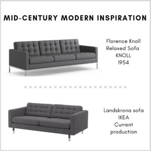 Mid-century modern inspiration for the living room: IKEA Landskrona Sofa and Relaxed Sofa by Florence Knoll