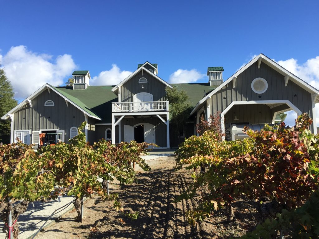 Corison's Victorian-style winery barn designed by Cathy Corison's husband, as seen from the old-vine Kronos vineyard